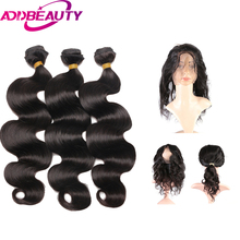 AddBeauty 360 Lace Frontal Closure With 2 Or 3 Bundles Peruvian Body Wave Virgin With 360 Frontal Closure  Virgin Human Hair