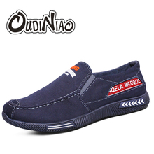 OUDINIAO Canvas Men Shoes Denim Canvas Slip On Men Casual Shoes 2018 Plimsolls Breathable Male Footwear Spring Sneakers Loafers