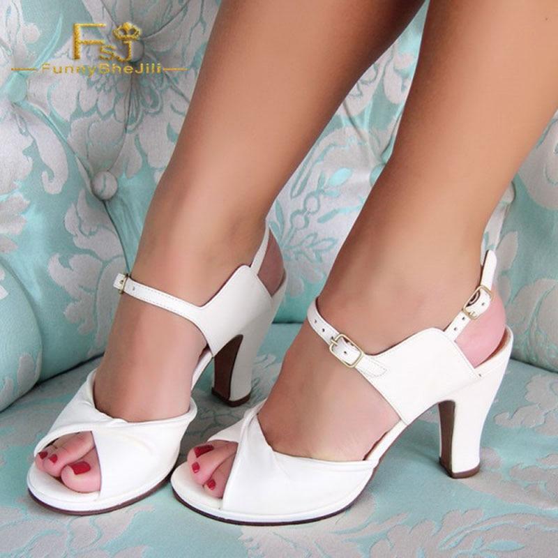 Printemps Peep Strap Taille 12 Automne Jane Dames Chaussures Fsj01 Cheville Femmes Pompes Blanc 2018 Mary Toe Plus Talons Chunky Shoes11 13 7cI06UUW