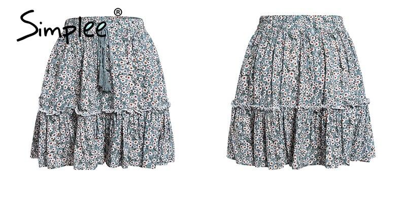 Simplee Casual polka dot mini women skirt High waist A line korean tassel pink summer skirt Sexy ruffle beach female skirts 19 19