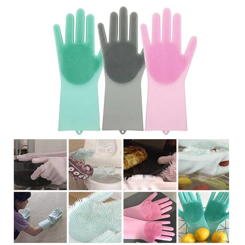 Magic Silicone Scrubber Rubber Dish Washing Kitchen Dusting Cleaning Gloves Pet Care Grooming Hair Car Insulated Kitchen Helper