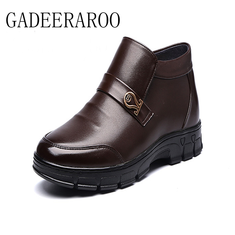 ФОТО 2016 Brand GADEERAROO Men Winter Casual Shoes Lace-up Snow Casual Men Shoes Antiskid Size 38~45 Warm Plus Size #998