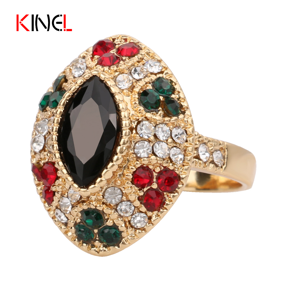 2016 cheap unique female vintage black rings plating 18k gold engagement wedding ring turkish jewelry free - Cheap Wedding Rings Online
