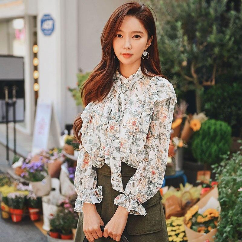 Dabuwawa Autumn elegant Print Ruffle Women Shirt New Casual 2018 Butterfly Sleeve Blouse Sweet Lace-up Shirt Top 2