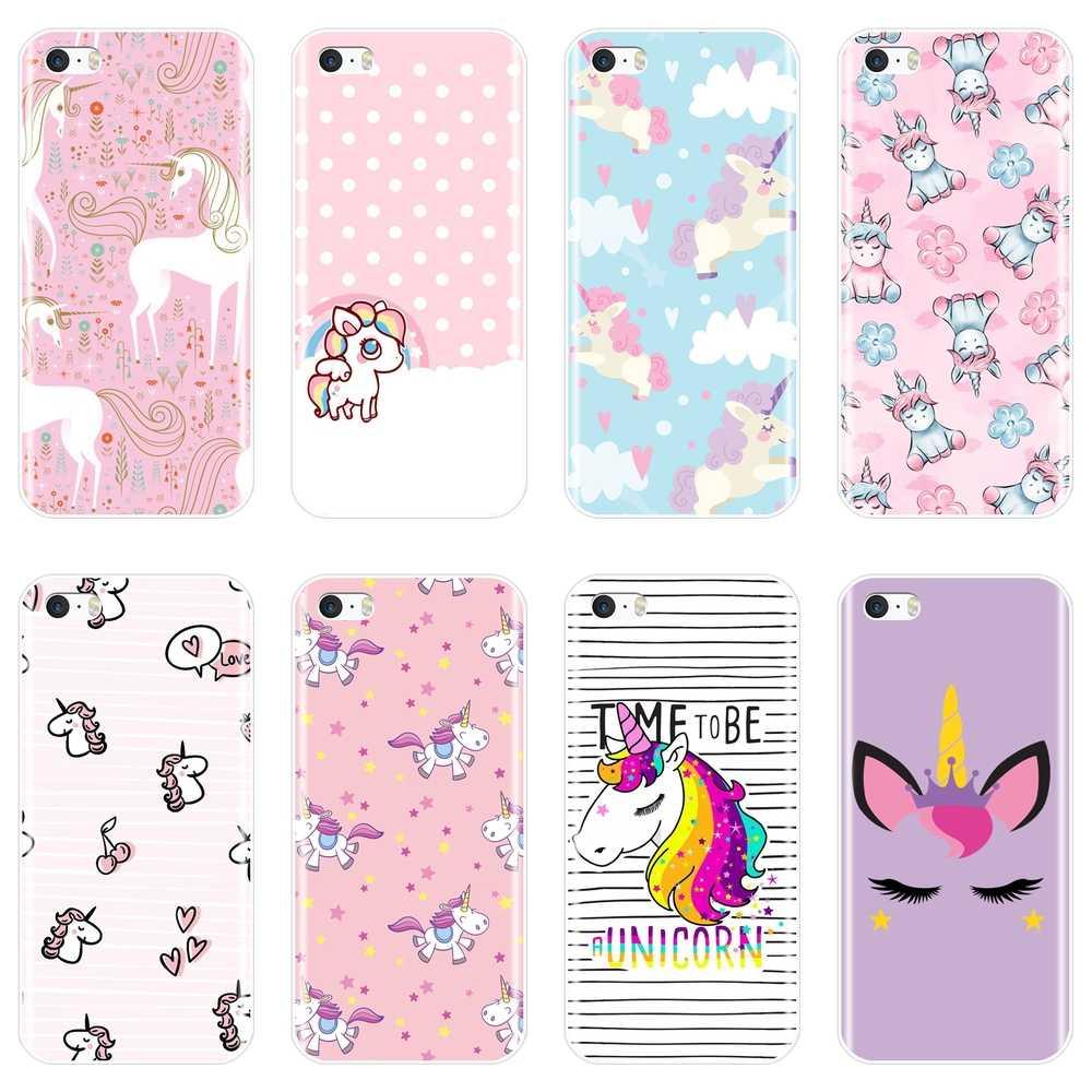 Pembe Kawaii Kız Prenses Sevimli Unicorn Vaka Iphone 5 S Için 5c 5 S Se Yumuşak Silikon Arka Kapak Apple Iphone 4 S 4 S Telefon Kılıfı Telefon Tamponu Aliexpress