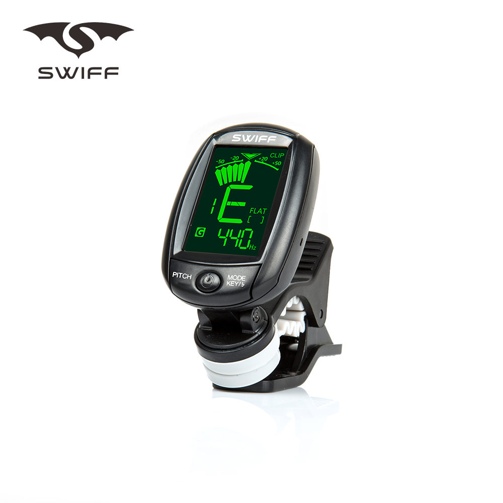 swiff a3 rotatable clip on tuner lcd display acoustic guitar tuner support vibration. Black Bedroom Furniture Sets. Home Design Ideas