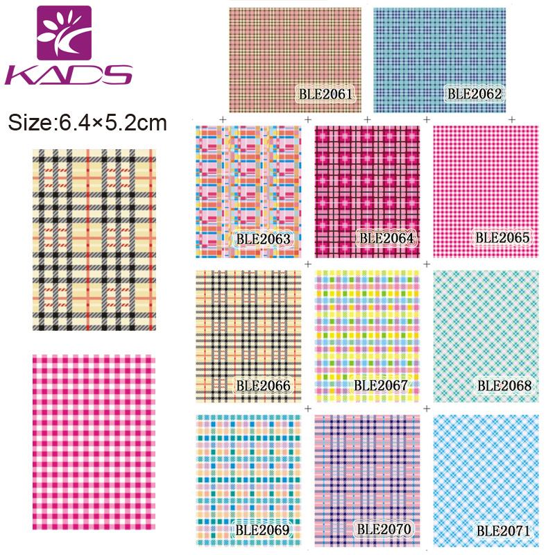 HOTSALE 11SHEET /SET BLE2061-2071 Grid design Full Cover Nail tips nail sticker DECAL NAIL WATER STICKER DECAL