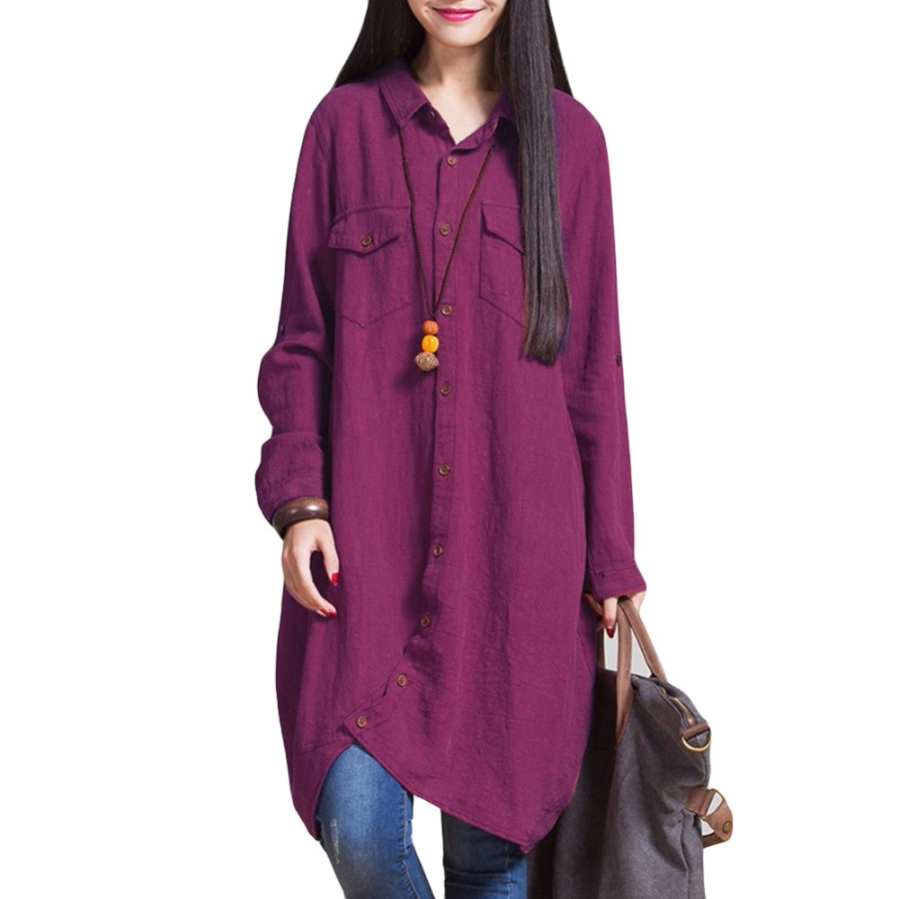 Plus Size Women Long Sleeve Linen Blouses And Shirts Female Ladies Casual Shirt Long Tops Pocket Button Blusas Femininas XXXXXL