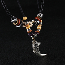 Ethnic leather necklace for men wolf fang pendant handmade braided rope tibetan beads male tribe tooth jewelry sweater chain