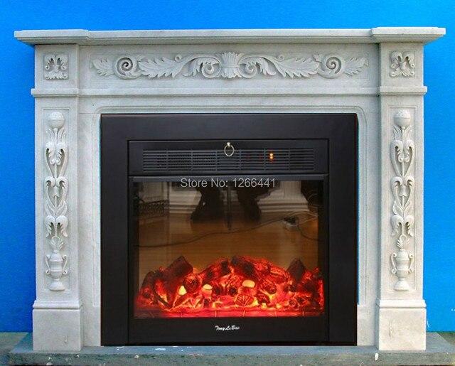 elegantes englisch stil kamin set w130cm geschnitzte natrliche stein kaminsims surround plus elektrokamineinsatz - Bilder Von Kaminkaminsimse