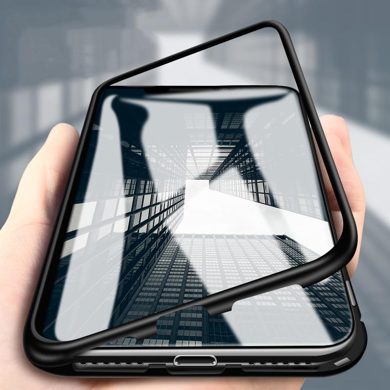 Carcasa magnética de aluminio para iPhone 7 8 6 6 s Plus funda abatible de cristal templado con marco de Metal para iPhone XS Max XS XR X
