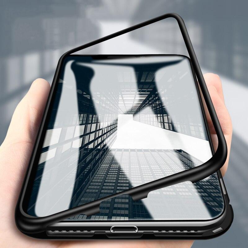 Di alluminio di Caso Magnetico Per il iphone 7 8 6 6 s Plus Vetro Temperato Posteriore della Struttura In Metallo Pieno di Caso Della Copertura di Vibrazione per il iphone XS Max XS XR X