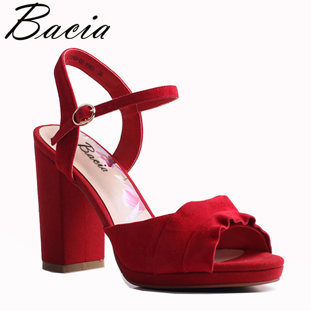 Bacia из овечьей замши Сандалии для девочек 2018 новый квадратный каблук красный и серый назад ремень Элегантный Для женщин высокое Насосы Обувь кожаная для девочек Размеры 33- 41 vxb033