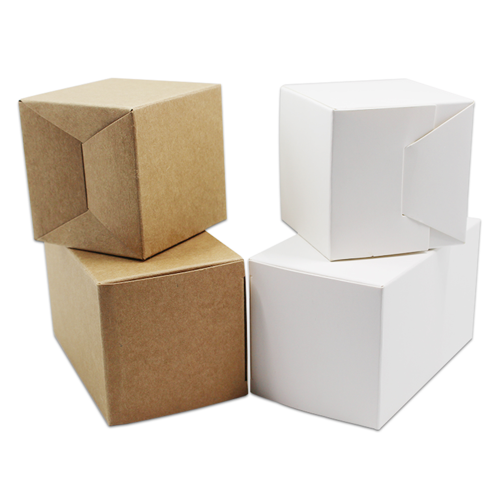 50Pcs 5x5x5cm Square Kraft Paper White Gift Box Small Carton Paperboard Cardboard Candy Craft Packaging Boxes Party Wedding