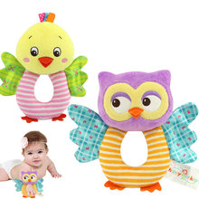 Fashion Newborn Infant Rattles Toy Handbell Cartoon Animal Owl/Chicks Boy Girl Hand Bell Toddler Baby Plush Toys Gifts B