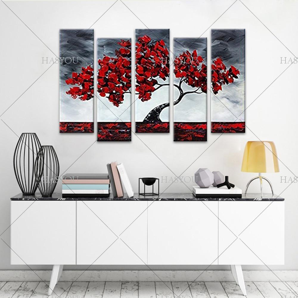 Livraison gratuite, 5 pièces peinture à l'huile abstraite moderne sur toile, peinture à l'huile de fleur chinoise - 2