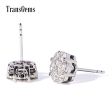 Transgems 1.4Ctw Moissanite F/GH Color Stones Real Gold Ear Stud Boucle D'oreille Pendientes Mujer Moda Floral Shape
