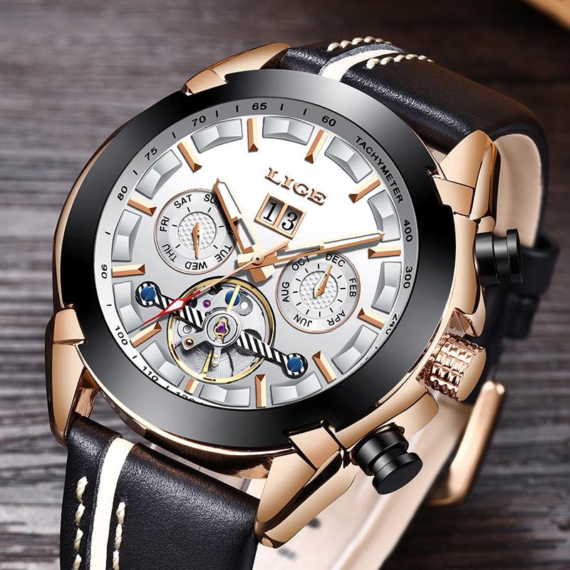 LIGE hommes montres Top marque de luxe automatique mécanique montre en cuir étanche Sport montre hommes Date entreprise horloge Reloj Hombre - 4