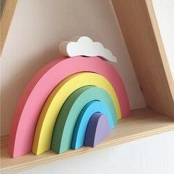 Colorful Rainbow Building Blocks crianças Decoração Quarto Ornamentos Decorativos De Madeira Presentes Decorações Da Parede do berçário do bebê Para Crianças Brinquedo