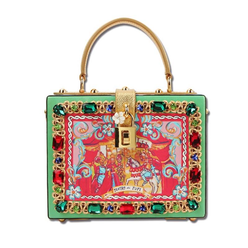 Bag female New printing box bag leather shoulder bag retro mini box packet retro wild embroidery female packet 2018