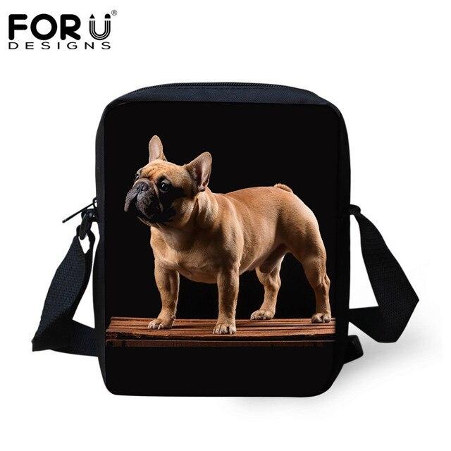 FORUDESIGNS Black Women Small Messenger Handbags Lovely Pug Dog Printing Shoulder Bags for Ladies Brand Designer Shopping Bags