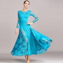 New 4 Color Women Ballroom Dance Dress Standard Skirts Ladin Dresses Vestido De Formatura Waltz Lace B-6192