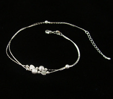 Lovely heart simple Bead Anklet Silver plated Chain Beach Ankle bracelet Fashion Women Jewelry  D4587a