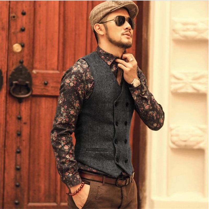 Moda Yüksek Kalite Yeni Erkekler Yelek Erkek Casual Suit V Yaka Slim - Erkek Giyim - Fotoğraf 4