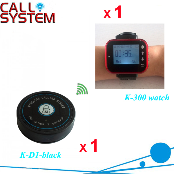 Restaurant Paging Order System 1 wrist watch 1 bell button for catering equipment wireless service call bell system popular in restaurant ce passed 433 92mhz full equipment watch pager 1 watch 7 call button