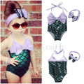 Hotsale 2017 Lovely Girls Kids Clothes Little Mermaid Biquini Swimming Clothing Suit + Handband Princess Summer Costume Sets