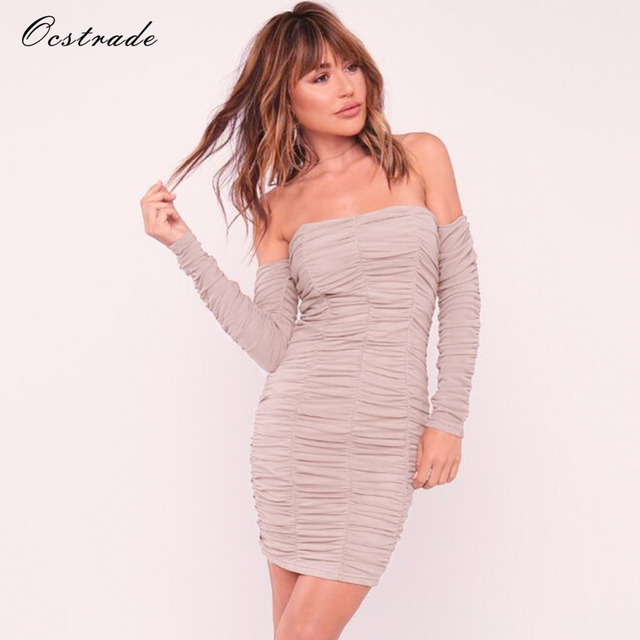 54395ea7a3 Ocstrade New Arrival 2017 Womens Off Shoulder Sexy Bodycon Dress Long Sleeve  Gathered Mesh Mini Party Club Dresses