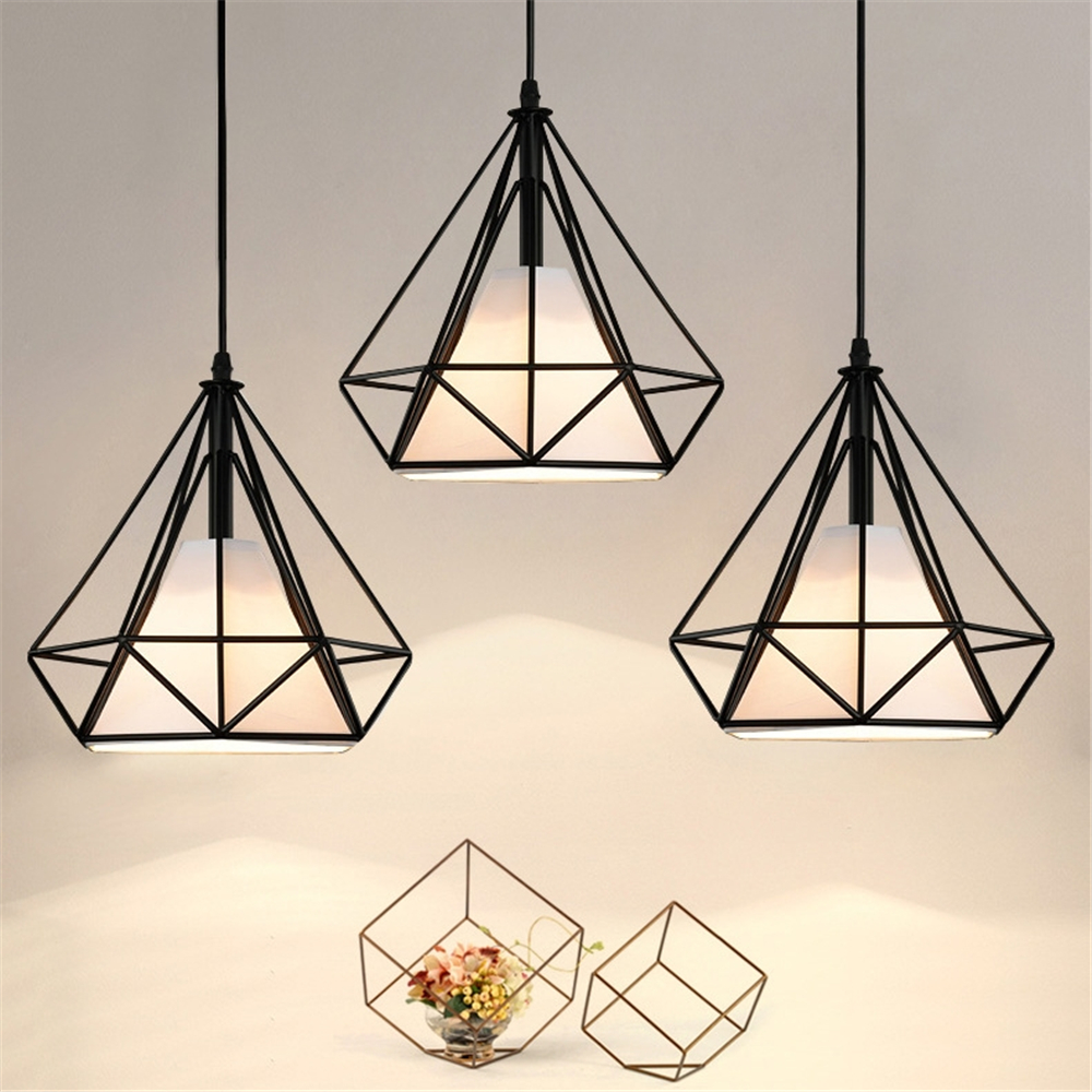 где купить Modern LED Pendent Light Minimalist Iron Art Diamond Geometric Chandelier Birdcage Hanging Ceiling Decor Light LED Pendant Lamp дешево