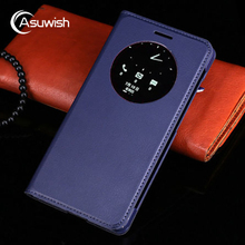 Asuwish Quick Smart Circle View Case Auto Sleep Wake Flip Cover Battery Housing Bag For ASUS Zenfone 5 A500KL A500CG A501CG 5.0″
