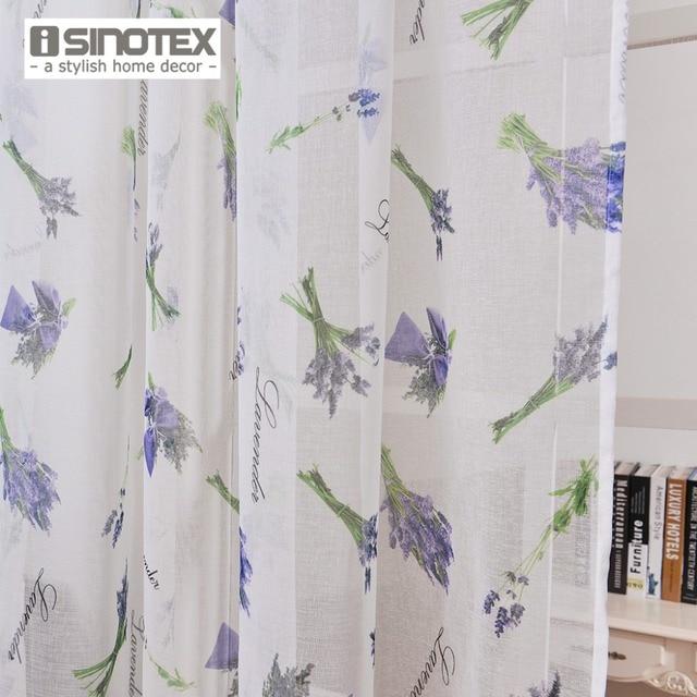ISINOTEX Rèm Cửa Sổ Hoa Oải Hương In Pattern Transparent Sheer Linen & Cotton Vải Đối Với Trang Chủ Phòng Khách Sàng Lọc 1 Cái/lốc