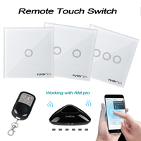 EU Wireless 1 2 3 Gang WiFi Light Switch Ios Android Remote Touch Panel Switch Via