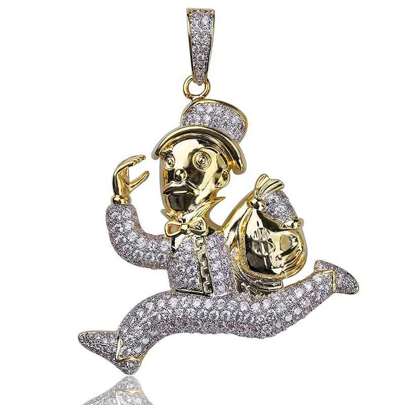 MISSFOX Hip Hop New York Grinch Rob $ Run จี้ 24K Gold Plated AA Cubic Zirconia Iced Out คนส่วนบุคคล