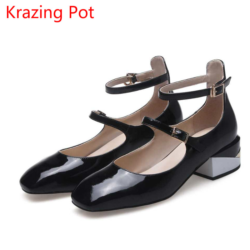 2017 New Ankle Strap Women Pumps Thick Heel Solid Square Toe Princess Style Office Lady Gladiator Shallow Mary Janes Shoes L7f1 new fashion thick heels woman shoes pointed toe shallow mouth ankle strap thick heels pumps velvet mary janes shoes