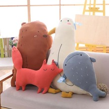 Cute Cartoon Fox Bear Whale Seabird Plush Toys Stuffed Froest Animal Doll Toy Plush Pillow Children Birthday Gift стоимость