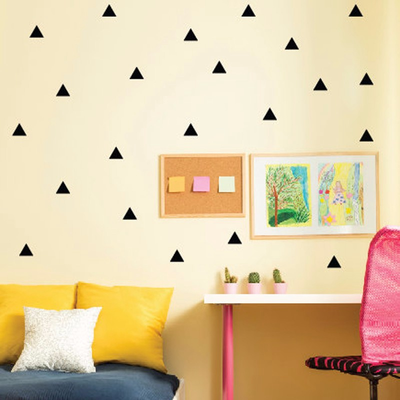 set of 35pcs,gold triangle vinyl wall decals, gold geometric