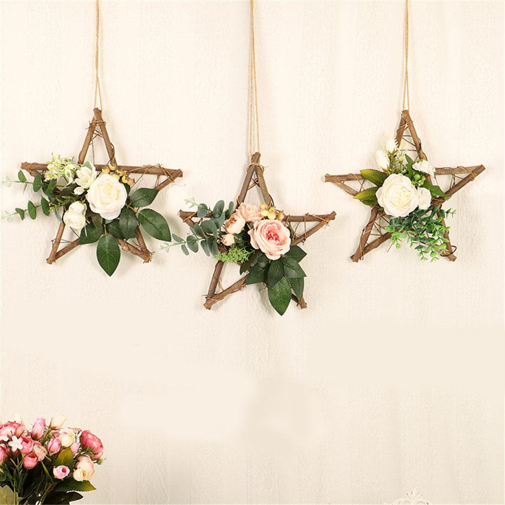 Home Decoration Craft Artificial Flower Wreath Wooden Pentagram Hanging Decorations Wall Window Wedding Decor Tools Accessories