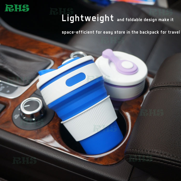 2017 100% Food-Grade BPA Free Silicone, Leak Proof Locked Lid, Collapsible Coffee Silicone Cups for Travel Home Work 350ml