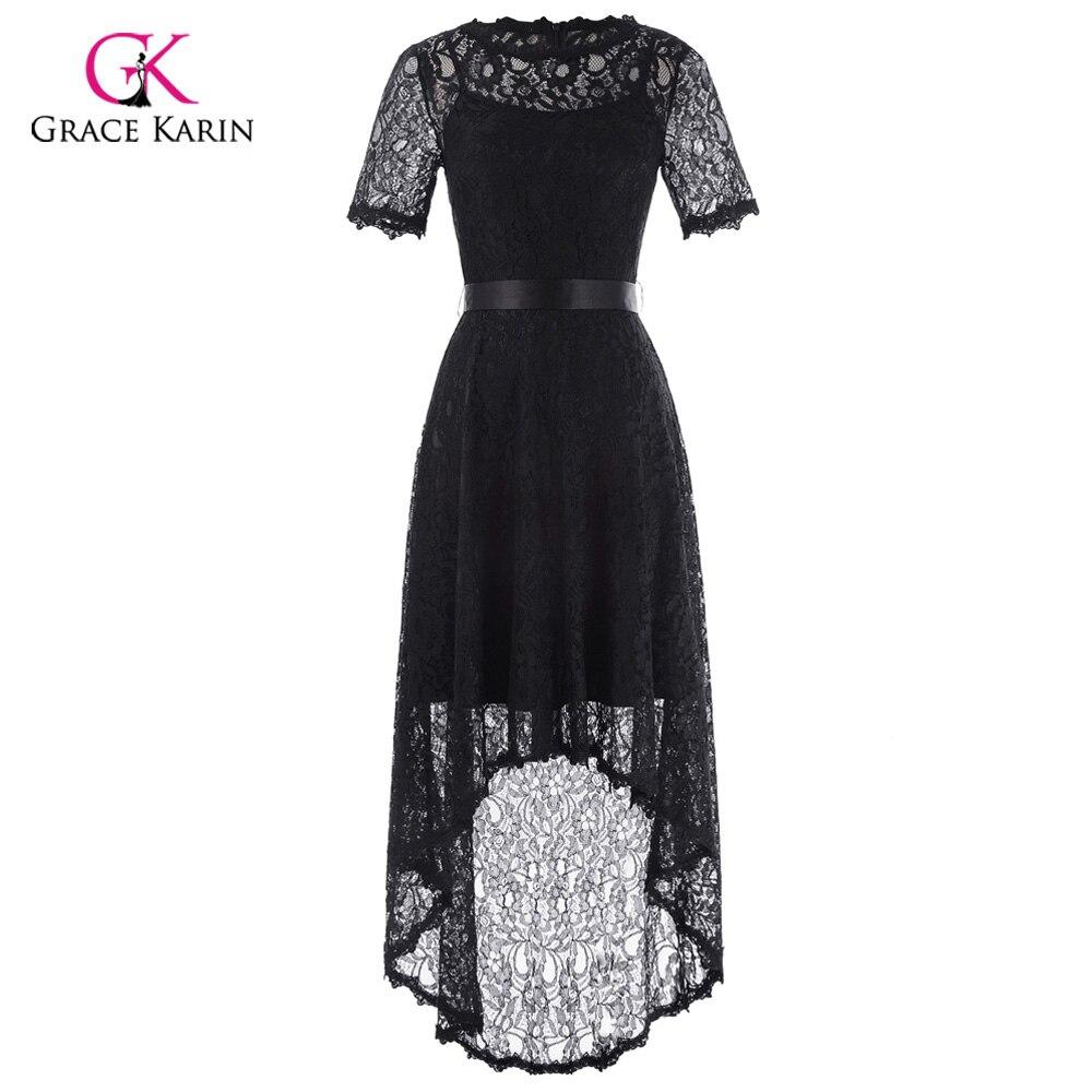Grace Karin Black Evening Dress Short Front Long Back Formal Gowns ...