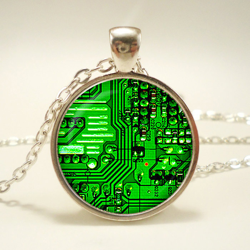 Circuit Board pendant. Printed circuit Board electronic Necklace. PCB Computer board jewelry, Birthdaysliver plated,christmas