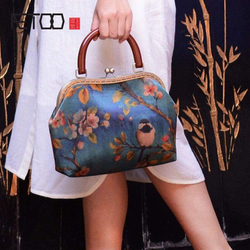 AETOO Original handmade custom silk silky handbag handbag pocket gold back ancient cloth women bag national wind wild