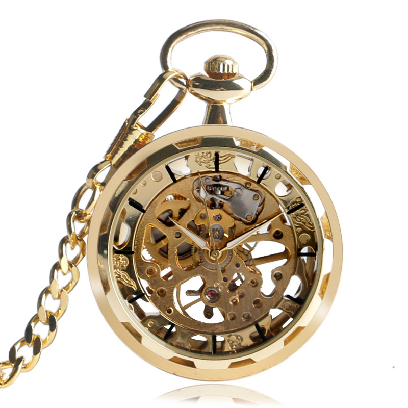 Luxury Gold Transparent Skeleton Hand Wind Mechanical Pocket Watch With 30 cm Chain Open Face Design Gift For Men Women купить