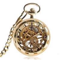 Sang trọng Vàng Trong Suốt Skeleton Tay Gió Cơ Pocket Watch Với 30 cm Chuỗi Mở Mặt Thiết Kế Quà Tặng Cho Nam Giới Phụ N