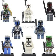 Star Wars Branco Nova Figura Jango Fett Boba Fett Mandaloriana Única Venda Legoingly Pre Vizsla Blocos de Construção Modelo de Conjunto de Brinquedos