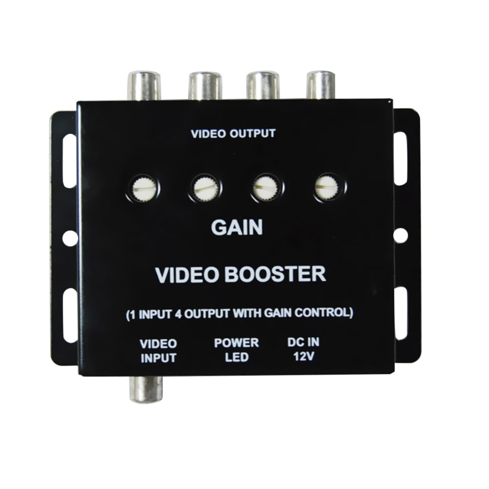12V 1 Input to 4 Output RCA Car DVD Video Booster Amplifier Splitter Box for DVD/TV Monitor Display