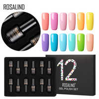 12PCS/LOT ROSALIND Nail Gel Polish Set for Nails 7ML UV Pure Colors Set Semi Permanent Nails Art for Manicure Set Gel Varnish
