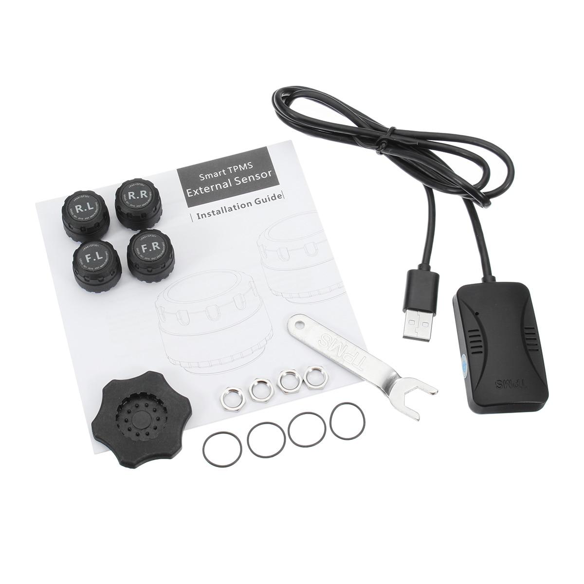 Système de Surveillance de Pression DES Pneus TPMS de voiture 4 Capteurs D'alarme La Température Des Pneus Système de Surveillance TPMS De Voiture pour Android DVD